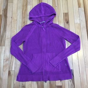Athleta Crocheted Purple Hooded Sweatshirt Size M